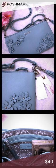 🐦NWT Jessica Simpson Lorelei Hand Bag 🐦NWT Jessica Simpson Color - Grey Mist (Looks like Minty Blue Green)-looks exactly like this color 👉🏻🐦 Floral detail with Silver Hardware Side Tassel Detachable straps to use as a Wristlet clutch  Straps are also adjustable  1 outside zipper pocket 1 inside zipper pocket 2 inside Open pockets Gray brown and white inside material Jessica Simpson Bags Shoulder Bags