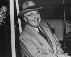 Harry Truman President of the United States -- after FDR died in April 1945 of a cerebral hemorrage, Truman completed that term, and was then elected to an additional term. (Photo by Hulton Archive/Getty Images) President Ronald Reagan, White House Obama, Mens Hat Store, Lunch Photos, Dwight Eisenhower