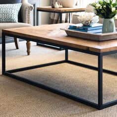 """<p>Our French inspired rectangular coffee table features a sophisticated blend of rustic relcaimed fir parquetry top and metal frame to create a classic piece of furniture to suit any decor.</p> <p>The coffee table is charmingly rustic with imperfections that add to its uniqueness and each finish is slighlty different to the next.</p> <p>We also have a co-ordinating<span style=\""""text-decoration: underline;\""""><a href=\""""..."""