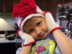 New White with Red trim Hat And Finger-Less Mittens by rgilliland