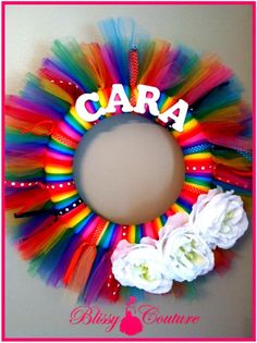 Tulle Tutu Birthday Wreath or for Room Personalized by www.BlissyCouture.net