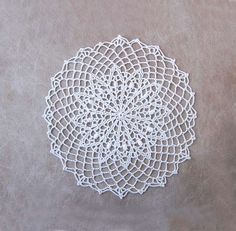 Elegant White Lace Crochet Doily Textured Art Table Decor, Modern Home by NutmegCottage on Etsy