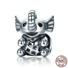 BAMOER New Arrival 925 Sterling Silver Baby Elephant & Openwork Screw Animal Beads fit Charm Bracelet for Women Jewelry Diy Jewelry Gifts, Cute Baby Elephant, Murano Glass Beads, Love Charms, Beaded Animals, How To Make Beads, Silver Charms, Silver Jewelry, Sterling Silver