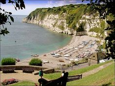 Beer beach from the cliff side gardens. The South West Coastal path runs along the top of the headland with fantastic views across Seaton Bay. You can walk along the cliff top to Branscombe where there is a cafe by the beach. Devon Uk, Devon England, South Devon, Devon And Cornwall, England And Scotland, Devon Life, Devon Coast, Oxford England, Cornwall England