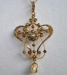Victorian Art Nouveau 9ct Gold Pearl set Pendant with Baroque Pearl Drop c1895
