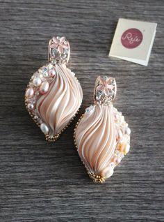 Shibori silk earrings statement earrings OOAK by Rejesoutache