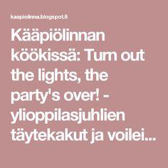 Kääpiölinnan köökissä: Turn out the lights, the party's over! - ylioppilasjuhlien täytekakut ja voileipäkakut Lights, Party, Parties, Lighting, Rope Lighting, Candles, Lanterns, Lamps, String Lights