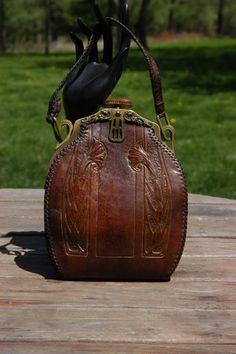 Vintage Arts & Craft Tooled Leather Handbag