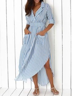 Lapel Long Sleeves Striped Two-Pockets Maxi Dress