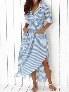 Lapel Long Sleeves Striped Two-Pockets Maxi Dress