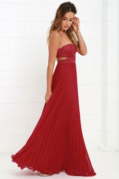 Moment in Time Wine Red Strapless Maxi Dress at Lulus.com!