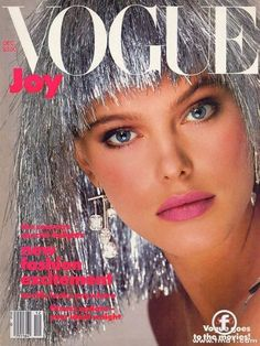 "Tinsel joy. Renee Simonsen on US ""Vogue"", December 1984."