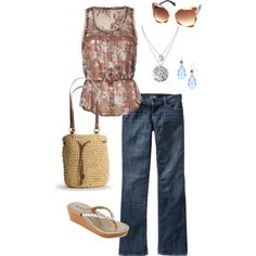 """So pretty and feminine. I would wear different sandals, though, can't stand the thong variety any more. (""""ready for spring"""" by bbricker39 on Polyvore)"""