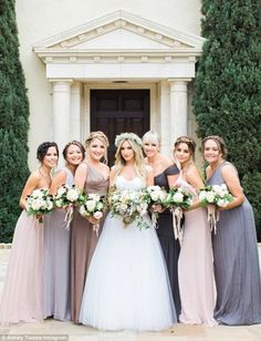 Vanessa Hudgens Was One of Ashley Tisdale's Bridesmaids - See the Photo!: Photo Vanessa Hudgens proudly supports her BFF Ashley Tisdale as a bridesmaid at her wedding to Christopher French on Monday (September in Los Angeles. Mismatched Bridesmaid Dresses, Bridesmaid Dress Colors, Colored Wedding Dresses, Wedding Bridesmaid Dresses, Wedding Colors, Lavender Bridesmaid, Amsale Bridesmaid, Grey Bridesmaids, Bridal Party Color Schemes