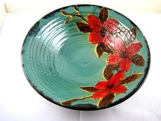 Hand painted floral bowl - In stock