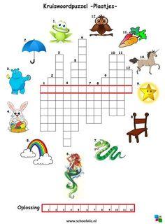 Kruiswoordpuzzel plaatjes  #puzzels #kruiswoordpuzzels #kinderpuzzels #plaatjes #schoolwiz #schoolwiz.nl:: Escape Room Puzzles, Phonics Rules, Word Puzzles, Diy Games, Kids Writing, Home Schooling, Kids House, Halloween Kids, Pre School
