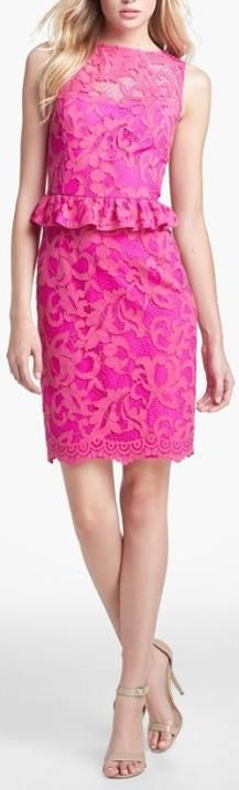 Hot Pink Lilly Pulitzer Lace Peplum Dress