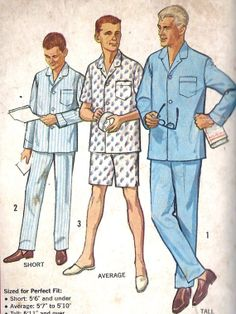 1950s Men's Pajamas Vintage Sewing Pattern by MissBettysAttic, $10.00