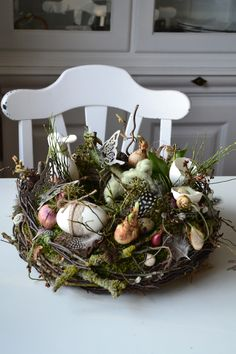 Large very natural wreath with a porcelain bunny, butterflies . Large very natural wreath with a bunny made of porcelain, butterflies made of metal, goose eggs, real flower Umbrella Decorations, Easter Table Decorations, Acorn Wreath, Grapevine Wreath, Christmas Advent Wreath, Etsy Wreaths, Fleur Design, Modern Wreath, Bulb Flowers