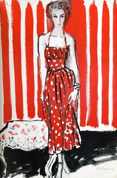 Fashion illustration by Rene Bouche, 1949