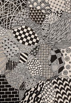 Totally easy Zentangle drawing project - all you need is some thing round, paper, and a pen to get started. Doodle Art Drawing, Zentangle Drawings, Mandala Drawing, Doodles Zentangles, Art Drawings, Easy Zentangle, Doodle Patterns, Zentangle Patterns, Pattern Drawing