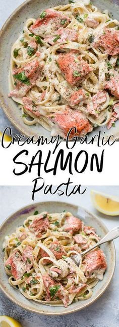 This salmon pasta with a creamy garlic sauce is quick and delicious and makes an easy and elegant meal. Ready in less than 30 minutes! #salmonpasta #seafoodrecipes