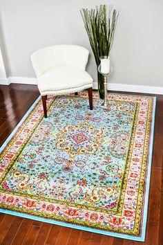 Light Blue Persian Rug Multi-Color Oriental Area Rugs - Bargain Area Rugs