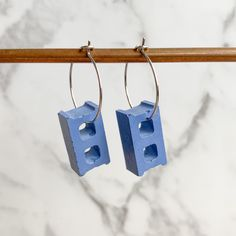 Concrete Cinder Block Earrings (7 colour choices) | Modern | Minimal | Gift| Unique | Concrete #etsy #cinderblock #hoop #earrings #concrete #cuteearrings #modernearrings How To Clean Earrings, Pink Ocean, Concrete Jewelry, Concrete Cement, Cute Earrings, Dusty Pink, White Light, Minimal, Jewellery