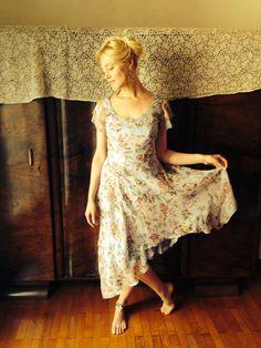 Ballerina Dress/Vintage 90's Silk Dress/Blue by LydiaLoveVtg