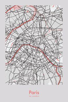 Paris, France Map Print