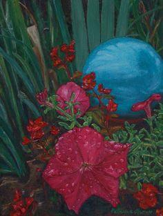 """Petunia with Gazing Ball"" painting by Patricia Thomas"