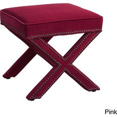 TOV Furniture Reese Velvet Ottoman (210 CAD) ❤ liked on Polyvore featuring home, furniture, ottomans, pink, velvet footstool, colored furniture, velvet ottoman, velvet furniture and nailhead ottoman