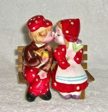 Vintage Dutch Boy Kissing Red Salt Pepper Shakers Retro