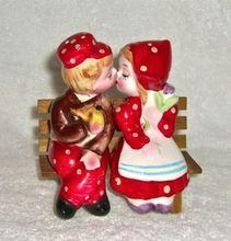 #Vintage Dutch Girl Boy 'Kissing' Red Salt & Pepper Shakers #Retro