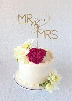 Mr and Mrs Gold Glitter Cake Topper