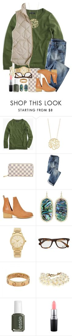 """""""I have decided that summer sets are over and now they're all gonna be fall!!"""" by thefashionbyem ❤ liked on Polyvore featuring J.Crew, Ginette NY, Louis Vuitton, Wrap, Jeffrey Campbell, Kendra Scott, Michael Kors, Ray-Ban, Cartier and Essie"""