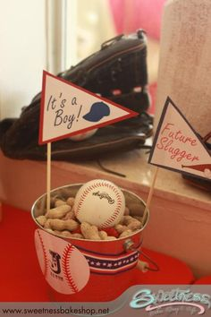 Vintage Baseball themed Baby Shower styled by Sweetness Bakeshop in Miami, FL Shower Time, Shower Party, Baby Shower Parties, Baby Shower Themes, Baby Boy Shower, Shower Ideas, Baby Showers, Diaper Shower, Baby Boy Baseball