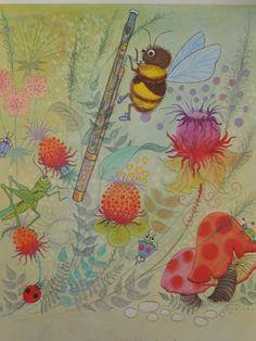 BEE~Vintage 1967 Book Print of Bee Playing by FineVintageVentures