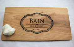 "NEW Personalized Engraved Wood Cutting / Bread Board - Names and Date - Hickory Wood - 8"" x 15"""