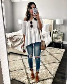 White peplum top | Cute outfit for running errands