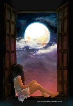 DeviantArt is the world's largest online social community for artists and art enthusiasts, allowing people to connect through the creation and sharing of art. Beautiful Fantasy Art, Beautiful Moon, Beautiful Girl Drawing, Scenery Wallpaper, Wallpaper Backgrounds, Shotting Photo, Images Esthétiques, Moon Photography, Digital Art Girl