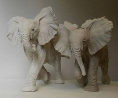 Nick Mackman's sculpture of baby elephants. Read more here: http://nickmackmansculpture.co.uk/blog/art-safari-zambia-elephants