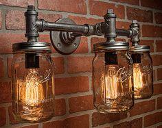 This article is not available - Industrial Lighting – Lighting – Mason Jar Light – Steampunk Lighting – Bar Light – Indus - Pipe Lighting, Rustic Lighting, Unique Lighting, Vintage Lighting, Vanity Lighting, Wall Sconce Lighting, Lighting Ideas, Wall Sconces, Farmhouse Lighting