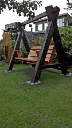 Large backyard landscaping ideas are quite many. However, for you to achieve the best landscaping for a large backyard you need to have a good design. Backyard Swings, Pergola Swing, Large Backyard, Backyard Landscaping, Backyard Ideas, Pergola Kits, Pergola Ideas, Outdoor Pergola, Garden Ideas