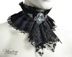 Winter choker with black jabot and red teardrop by Vilindery