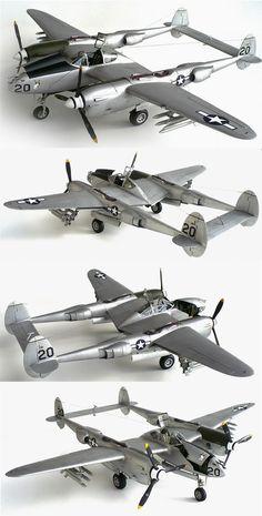 """Lightning"" w/ underwing rocket-racks. Tamiya Model Kits, Tamiya Models, Ww2 Aircraft, Military Aircraft, Plastic Model Kits, Plastic Models, Scale Models, Lockheed P 38 Lightning, Model Hobbies"