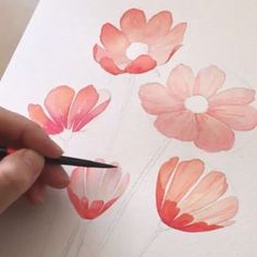 Korean Artist Uploads Step By Step Tutorials On How To Draw Beautiful Flowers If you've ever dreamed of becoming a world-class artist, an illustrator or simply wanted to improve your drawing skills, then you're in luck. Painting & Drawing, Watercolor Drawing, Floral Watercolor, Watercolor Paintings, Korean Painting, Watercolors, How To Watercolor, Watercolor Trees, Matte Painting