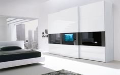 Modern Wardrobe Closets for Contemporary Bedroom Decorating Inspirations Modern TV Built In Door Wardrobe for Contemporary Bedroom By Presotto – Home Designs and Pictures