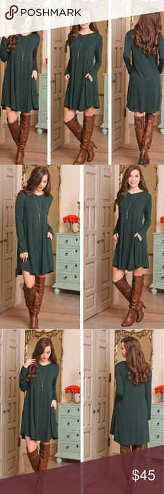 "❣Forest Green V-neck Longsleeve Dress❣ V-neck Longsleeve dress 55% Polyester, 40% Rayon, 5% Spandex Bust- S-16.5"", M-17.5"", L-18.5"" Length-S-35.5"", M-36.5"", L-37.5"" Color: Forest Green Infinity Raine Dresses Long Sleeve"