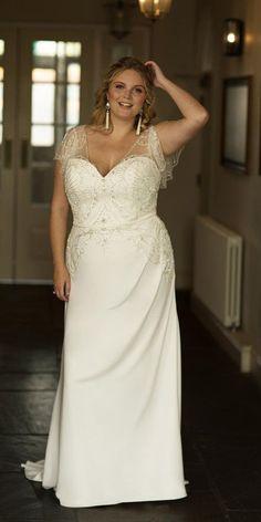 39 Plus-Size Wedding Dresses: A Jaw-Dropping Guide ❤ plus size wedding dresses vintage sheath with cap sleeves jeveled beaded truebride #weddingforward #wedding #bride